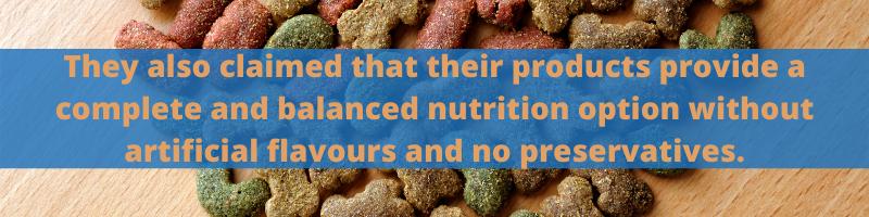 Baxter's claimed: complete nutrition, no preservatives